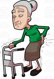 A grandma having backaches while walking